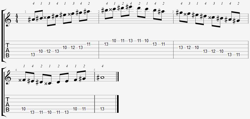 A Sharp Mixolydian Mode 10th Position Notes
