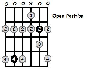C Sharp Phrygian Mode Open Position Frets