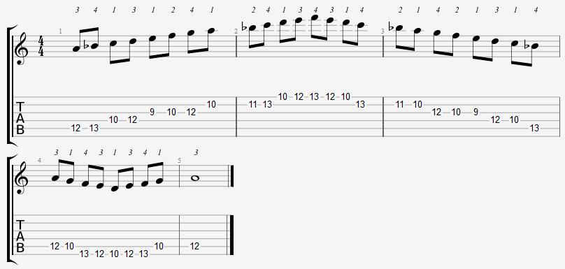 A Phrygian Mode 9th Position Notes