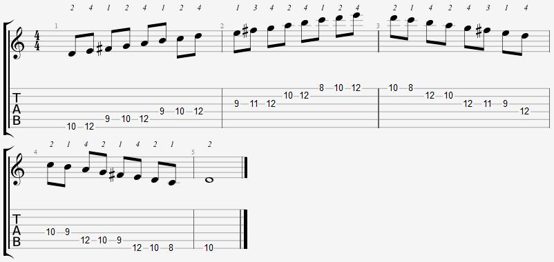 D Mixolydian Mode 8th Position Notes