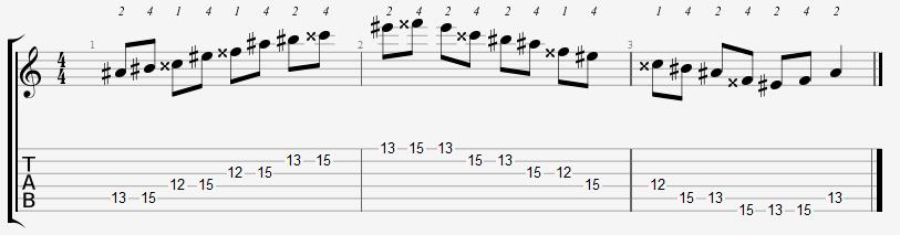 A Sharp Major Pentatonic 12th Position Notes