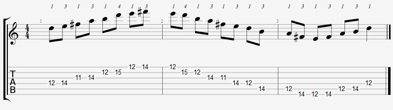 D Major Pentatonic 11th Position Notes