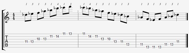 D Flat Major Pentatonic 10th Position Notes