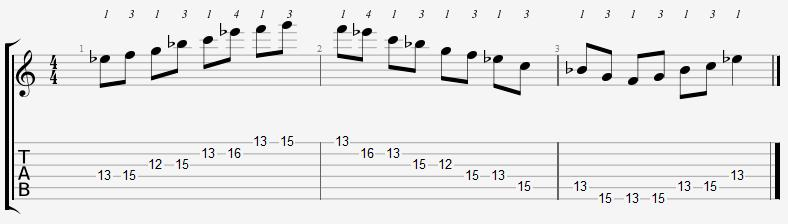 E Flat Major Pentatonic 12th Position Notes