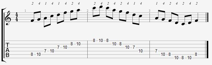 F Major Pentatonic 7th Position Notes