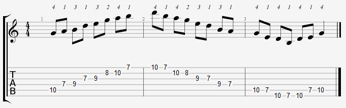 G Major Pentatonic 7th Position Notes