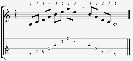 G major arpeggio 3rd position notes