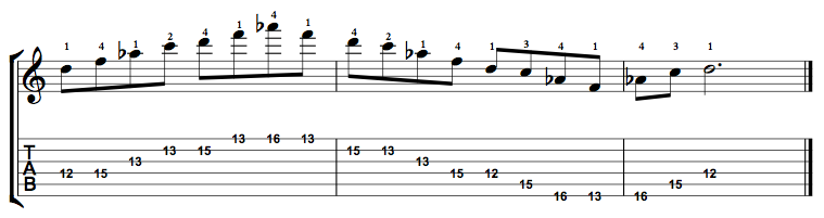 Minor7b5-Arpeggio-Notes-Key-D-Pos-12-Shape-2