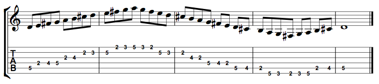 D Major Scale Entire Position