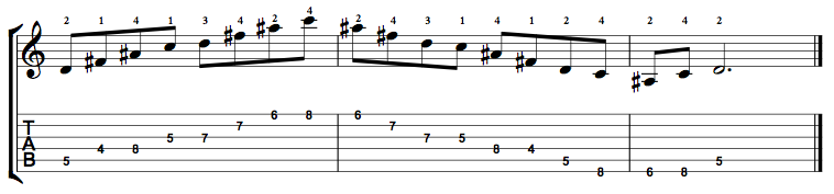 Augmented7-Arpeggio-Notes-Key-D-Pos-4-Shape-4