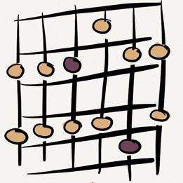 Major and Minor Pentatonic Shape Illustrations