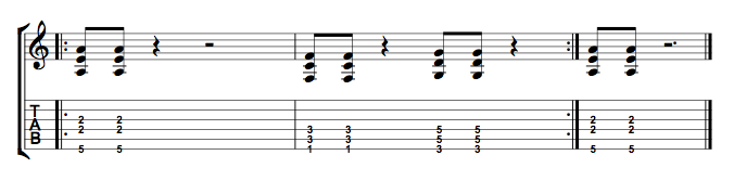 Short Riff 3 Note Power Chords