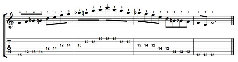 Major-Blues-Scale-Notes-Key-G-Pos-12-Shape-5