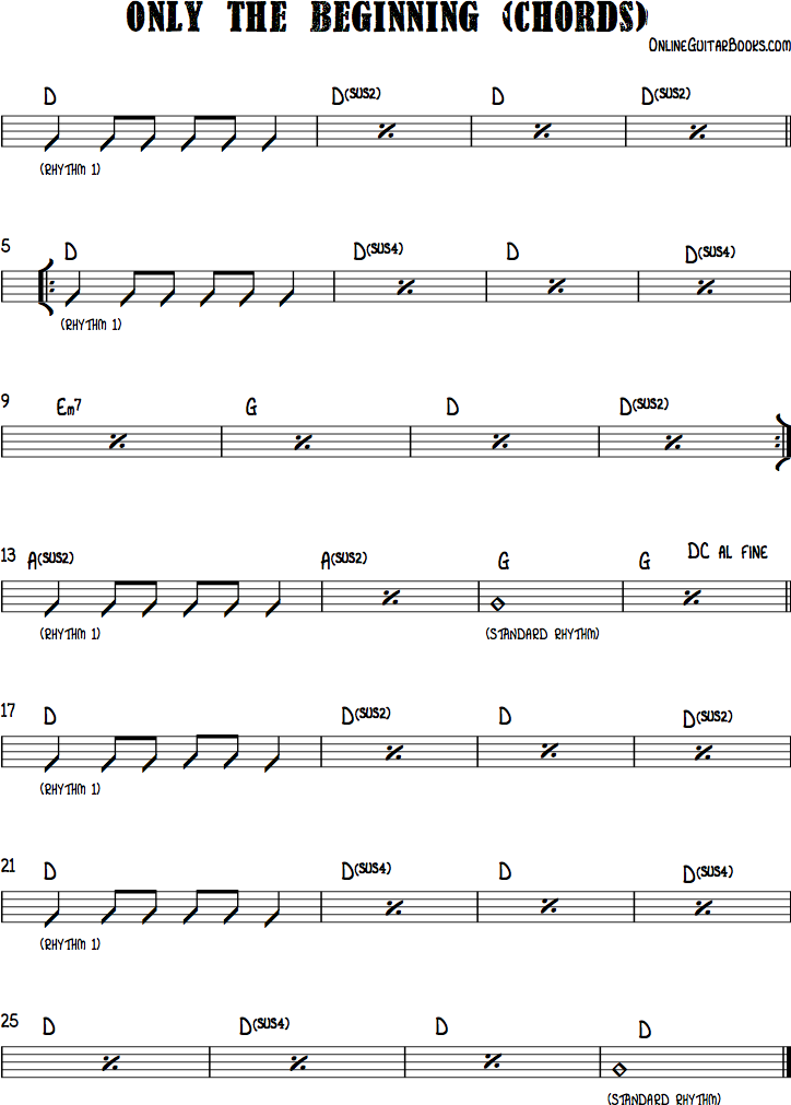 Only The Beginning Chords