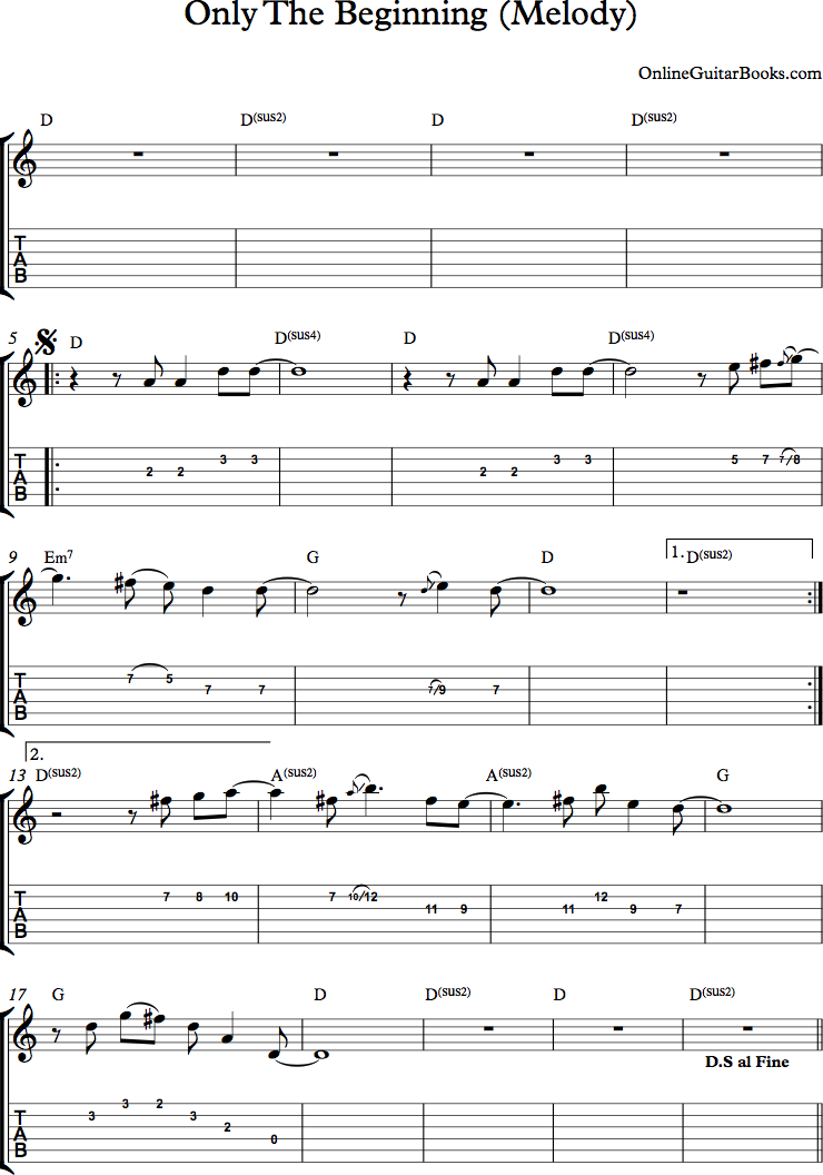Only The Beginning Melody Page 1