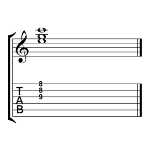 C Major Triad 1st Inversion Notes Frets