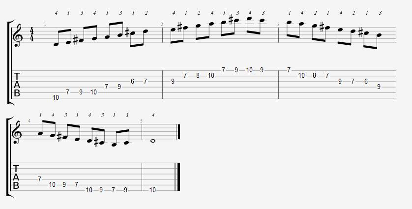 D Major Scale 6th Position Notes