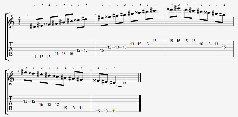 D Sharp Major Scale 11th Position Notes