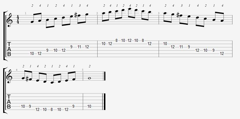 G Major Scale 8th Position Notes