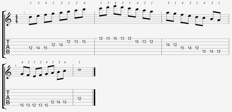 D Dorian Mode 12th Position Notes