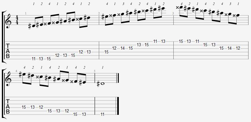 D Sharp Lydian Mode 11th Position Notes