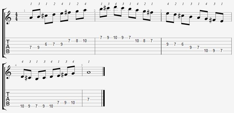 A Mixolydian Mode 6th Position Notes
