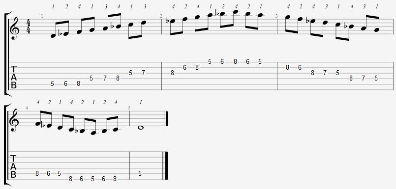 D Phrygian Mode 5th Position Notes