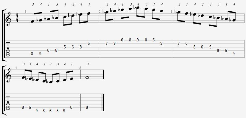 F Phrygian Mode 5th Position Notes
