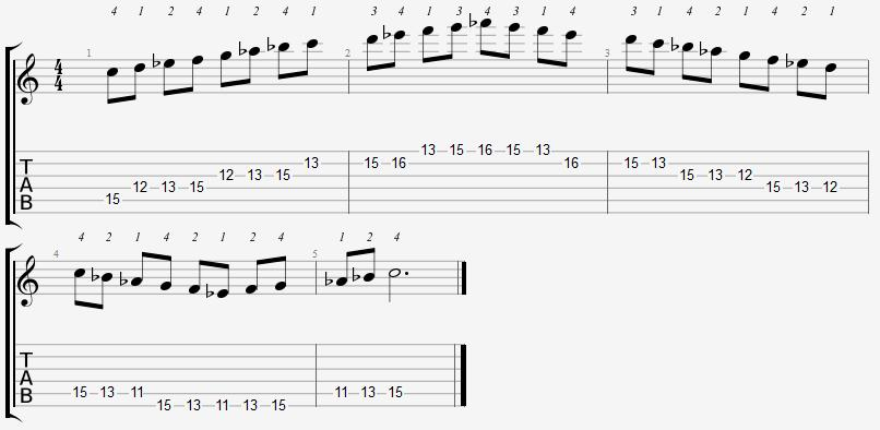 C Aeolian Mode 11th Position Notes