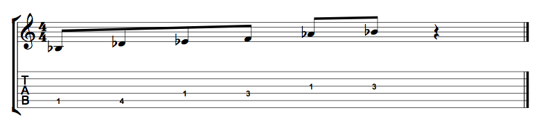 Bb Minor Pentatonic 1 Octave Shape 4