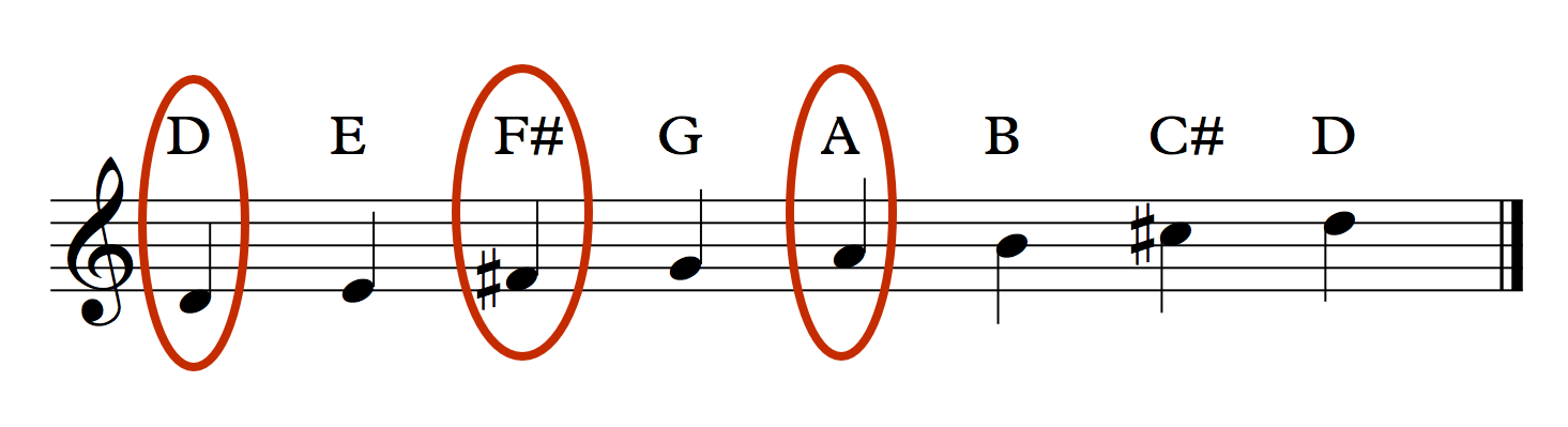 D Major Scale Circled