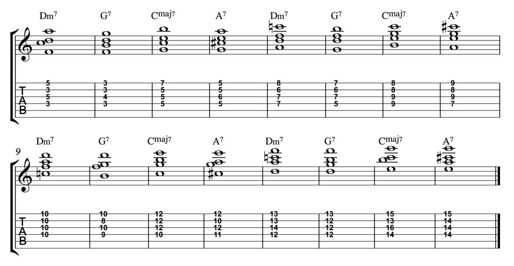 Chord Progression Practice Dm7 G7 Cmaj7 A7 1000