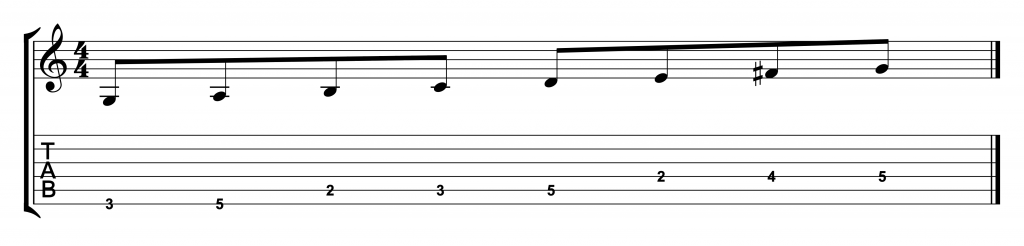 G Major Scale One Octave Notes and Tabs