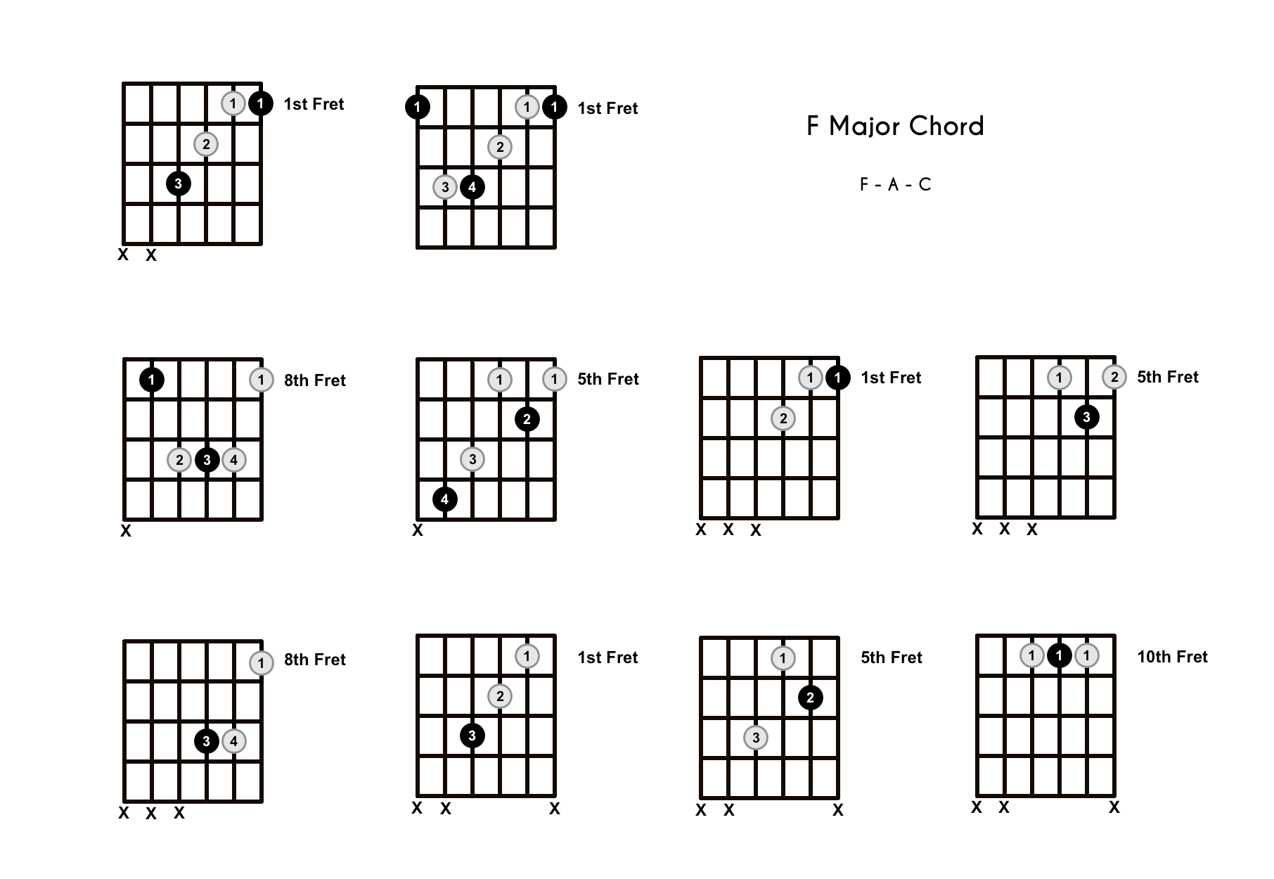 F Chord on the Guitar (F Major) – Diagrams, Finger Positions, Theory