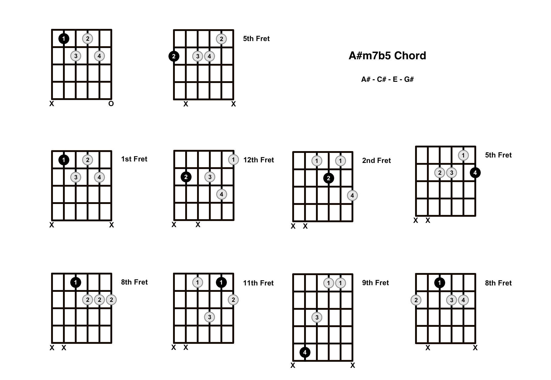 A#m7b5 Chord On The Guitar (A Sharp Minor 7 Flat 5, A Sharp Half Diminished) – Diagrams, Finger Positions and Theory