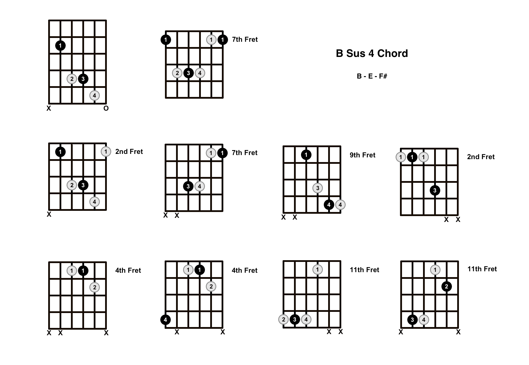 B Sus 4 Chord On The Guitar (B Suspended 4) – Diagrams, Finger Positions and Theory