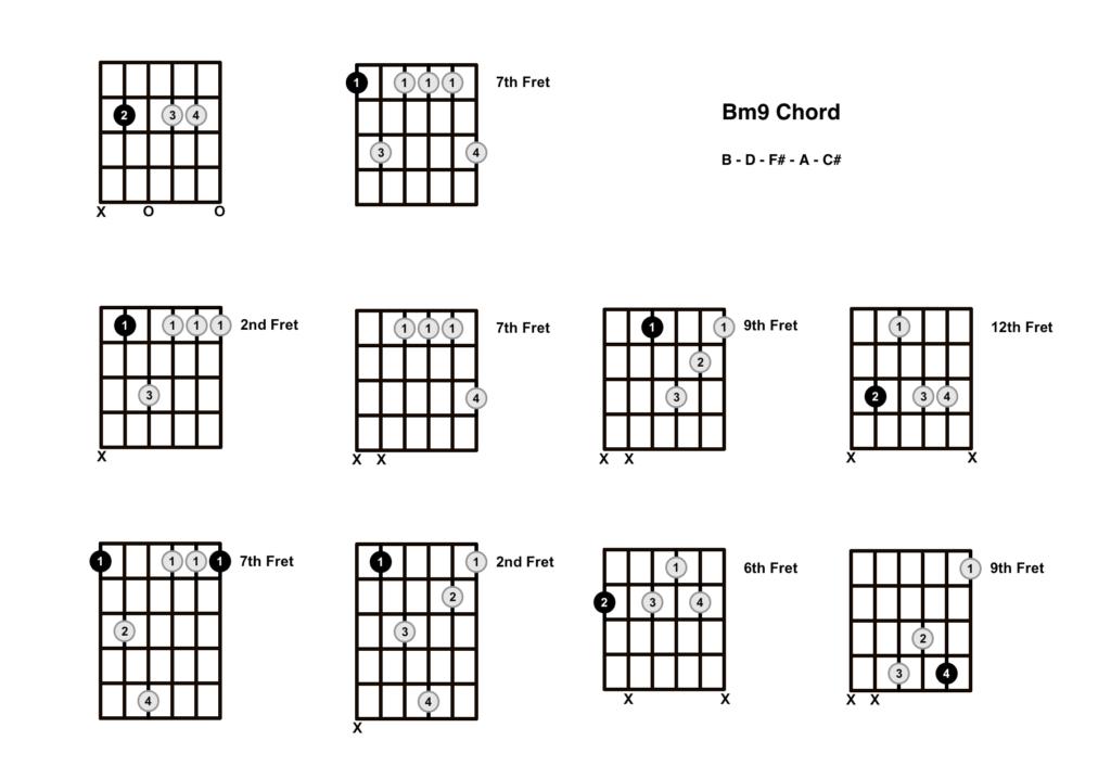 B Minor 9 Chord 10 Shapes