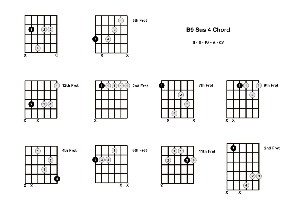 B9 Sus 4 Chord 10 Shapes