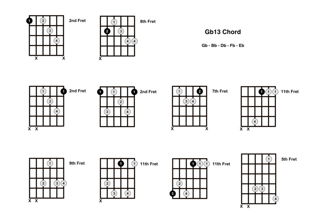 Gb13 Chord 10 Shapes